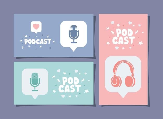 Tre poster di podcast
