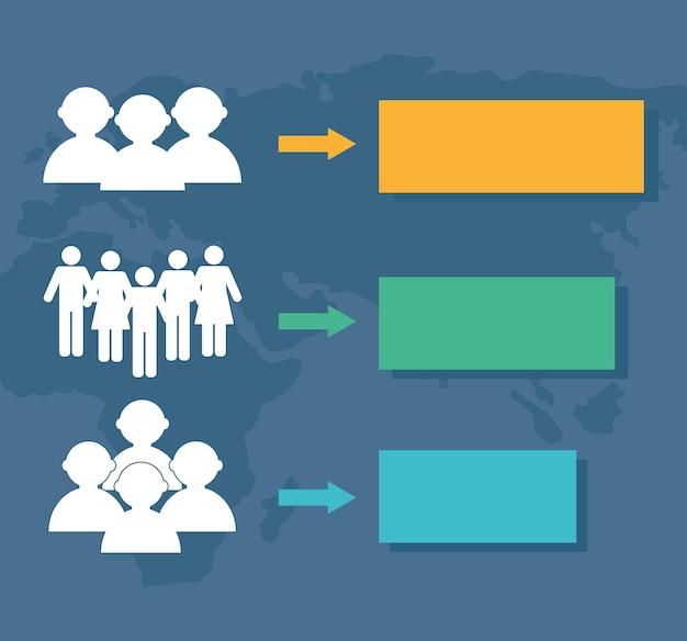 Tre icone infografiche sulla popolazione