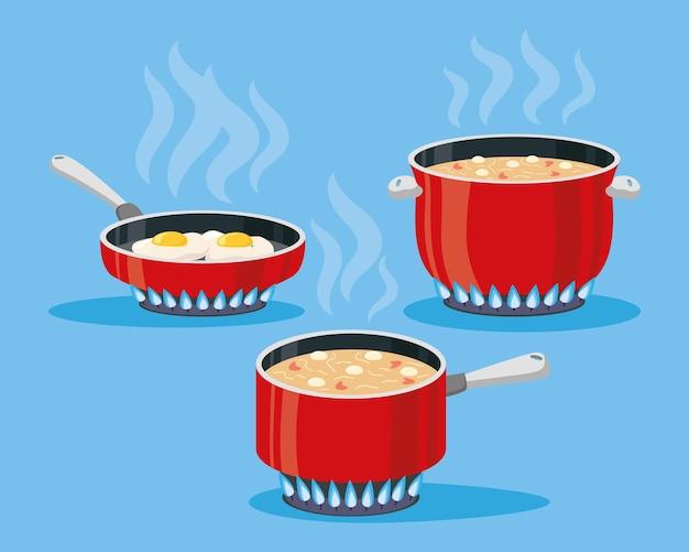 Set di tre pentole per cucinare