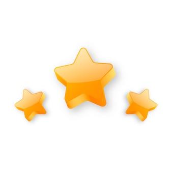 Tre stelle dorate lucide realistiche
