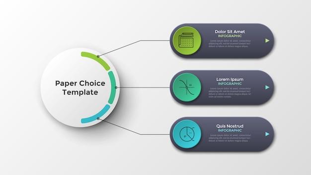 Tre elementi arrotondati collegati al cerchio bianco della carta principale per linee. modello di progettazione infografica moderna. illustrazione vettoriale realistica per la visualizzazione di 3 funzionalità o opzioni del progetto aziendale.