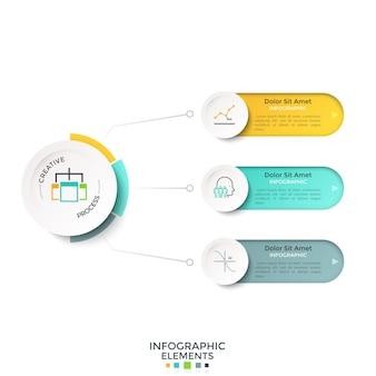 Tre opzioni arrotondate collegate al cerchio bianco della carta principale per linee. modello di progettazione infografica realistica moderna. illustrazione vettoriale per la visualizzazione schematica delle fasi di sviluppo del progetto di avvio.