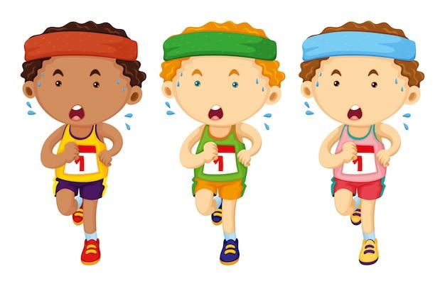 Tre corridori che corrono in gara