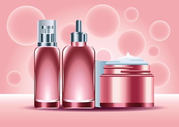 Tre prodotti per la cura della pelle bottiglie di colore rosso set icone illustrazione