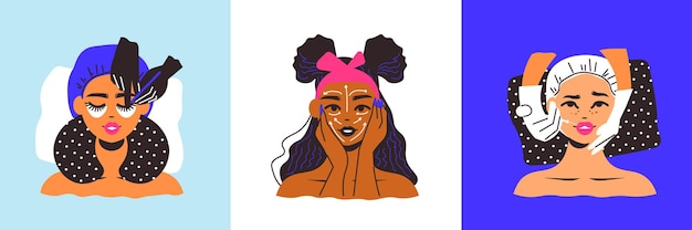 Tre composizioni quadrate di volti femminili che applicano maschere e iniezioni di cosmetici
