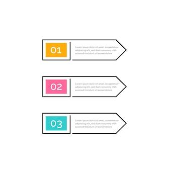 Pulsanti colorati a tre passaggi con numeri e testo nel design infografico delle frecce a destra della cornice di contorno