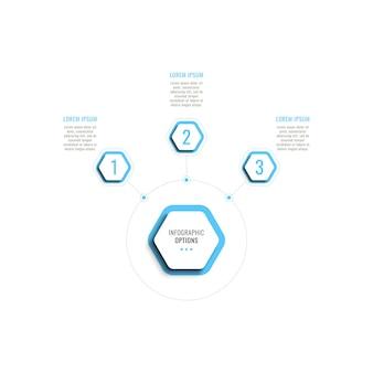 Modello di infografica orizzontale a tre passaggi con elementi esagonali azzurri su sfondo bianco
