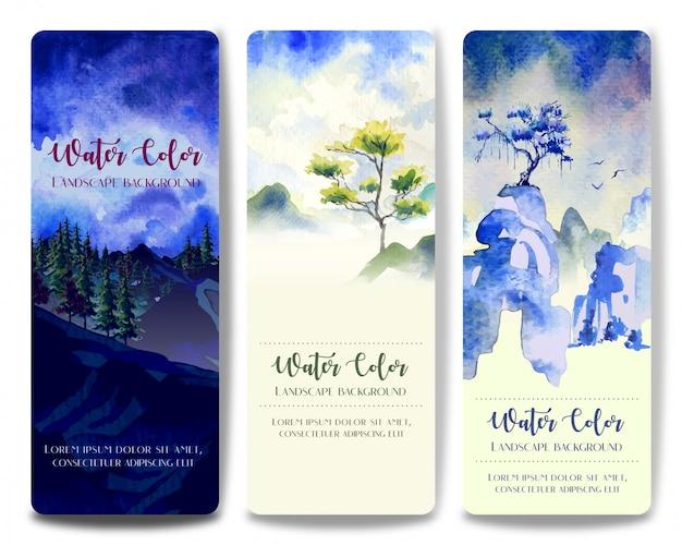Tre dipinti di paesaggi ad acquerello in stile, albero e collina