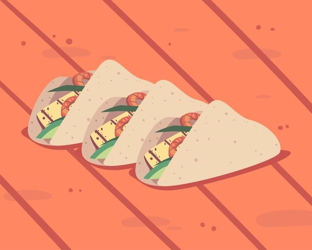 Tre tacos in tavola
