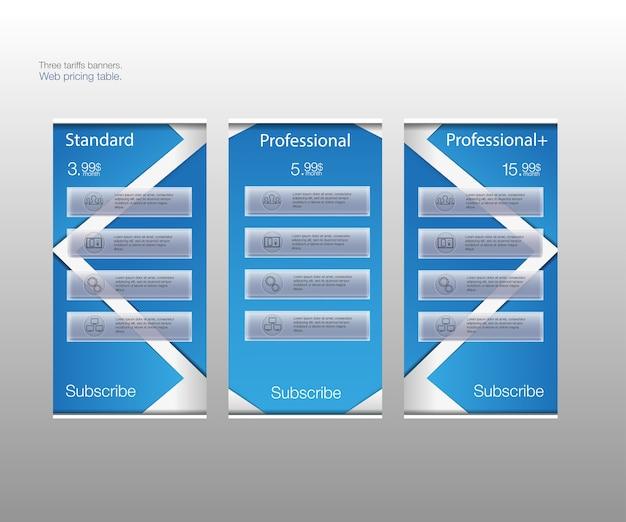 Tre striscioni tariffari. tabella dei prezzi web. per app web. listino prezzi. raggruppati correttamente.