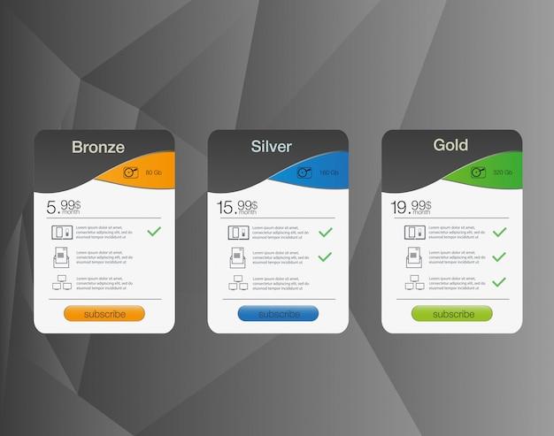 Tre banner tariffari. tabella dei prezzi web. per l'app web. listino prezzi.