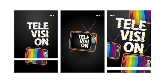 Tre volantini televisivi modello con tipografia glitch e illustrazione tv vintage
