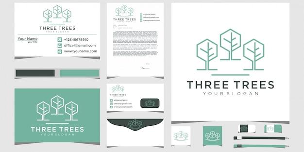 Tre alberi foglia natura con linea arte logo design e design di cancelleria