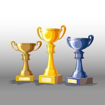 Tre trofei: oro, argento e bronzo. 3d con tazze di materiali diversi. isolato.
