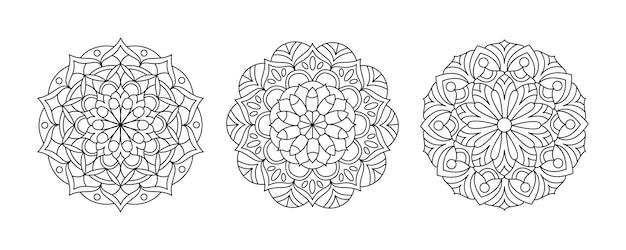Set di tre mandala vettoriali raccolta di pagine da colorare per adulti modello rotondo per la meditazione