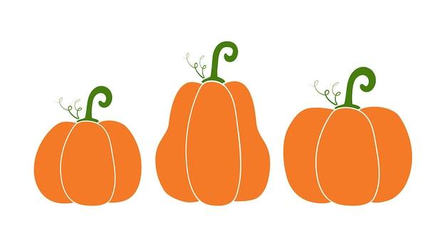 Tre zucche vettoriali in stile semplice. illustrazione di autunno del fumetto. icona vegetale isolata
