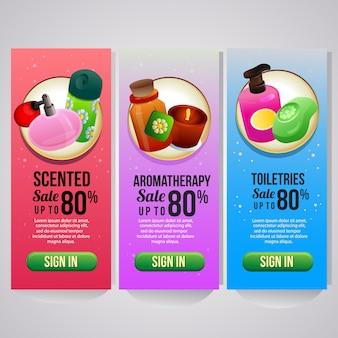 Tre tema di cosmetici sito web banner verticale