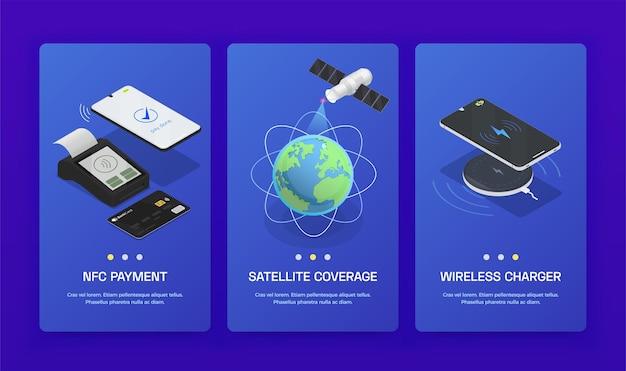 Set di tre banner di tecnologie wireless isometriche verticali con copertura satellitare di pagamento nfc e caricabatterie wireless
