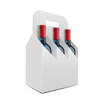 Modello di tre bottiglie di vite e pacchetto pieghevole bottiglia di vite.