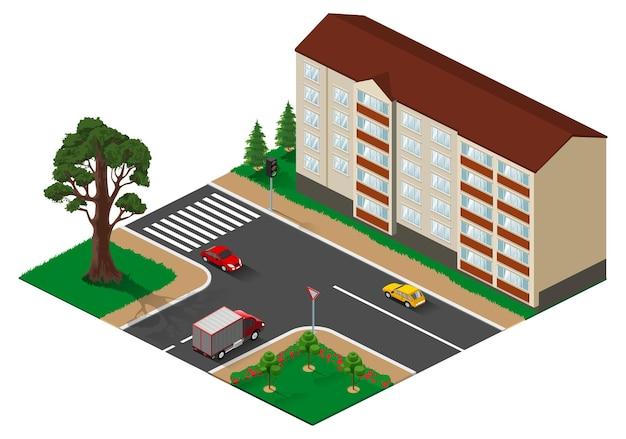 Incrocio a tre vie con illustrazione isometrica della strada principale.