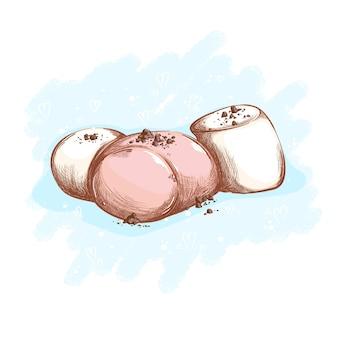 Tre marshmallow bianchi e rosa cosparsi di gocce di cioccolato. dessert e dolci.