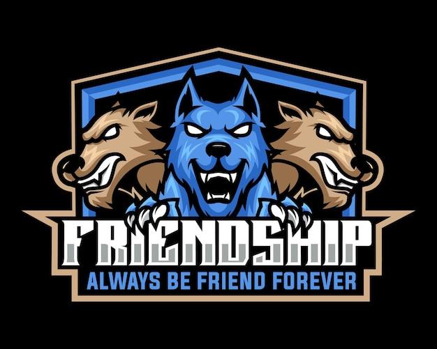 Logo della mascotte arrabbiata di tre lupi per esport e squadra sportiva