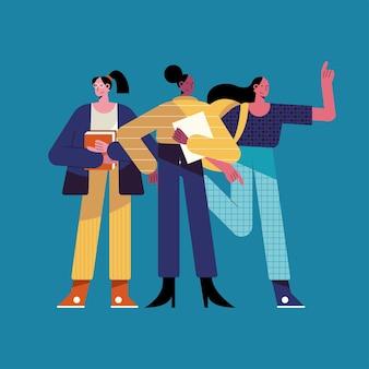 Tre donne diverse professioni caratteri illustrazione