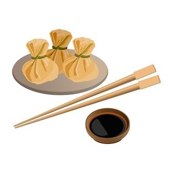 Tre wonton sul piatto e salsa di soia con bastoncini per sushi vicino. piatto asiatico tradizionale con ripieno di verdure, carne o funghi per le vacanze. illustrazione del piatto cinese che serve su bianco