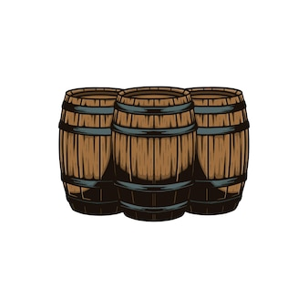 Illustrazione vettoriale di tre barili di legno