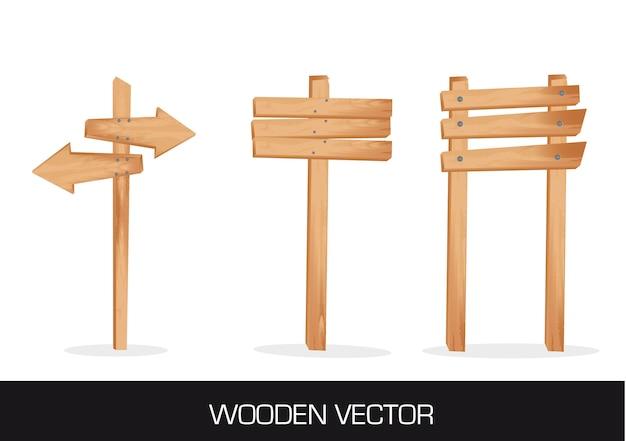 Tre indicazioni in legno isolato su sfondo bianco vettoriale