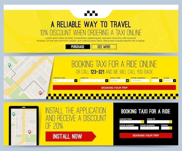Tre banner web gialli per il servizio di taxi aziendale. concetto di prenotazione taxi online.