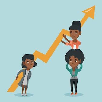 Tre giovani donne d'affari in possesso di grafico di crescita.
