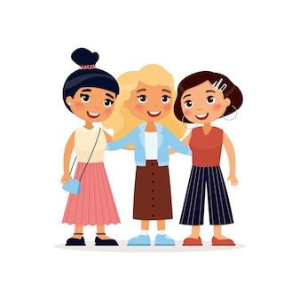 Tre giovani ragazze sveglie che abbracciano personaggi dei cartoni animati divertenti Vettore Premium