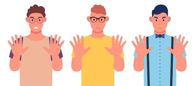Tre giovani di diverse nazionalità mostrano un gesto di arresto con le mani. set di caratteri. illustrazione vettoriale.