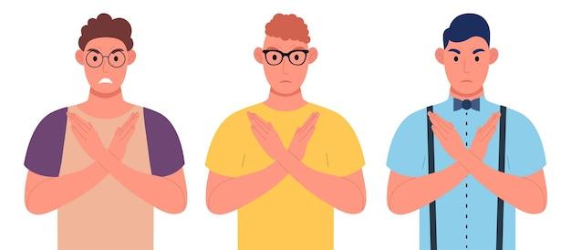 Tre giovani uomini che fanno la forma a x, il segnale di stop con le mani e l'espressione negativa. armi incrociate. set di caratteri. illustrazione vettoriale.