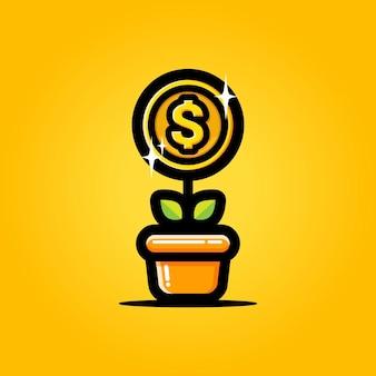 Progetti fiorenti di piante di denaro