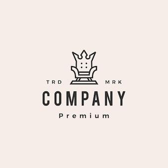 Modello di logo vintage hipster sedia re del trono