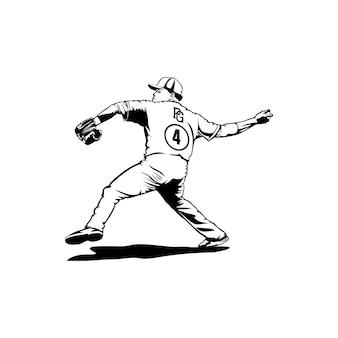 Lancia la palla baseball logo design club giocatore maschile