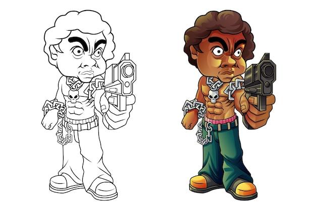 Pagina da colorare del fumetto delinquente per bambini