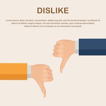 Pollice verso il basso. antipatia, deluso, feedback negativo dei clienti, disapprovazione