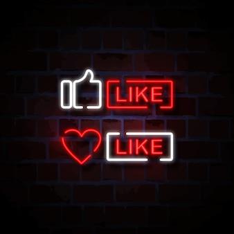 Il pollice e il cuore gradiscono l'icona illustrazione al neon del segno di stile
