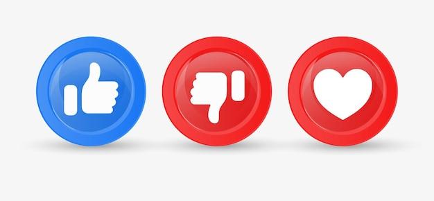 Pulsante pollice su giù con icona a forma di cuore per le icone di notifica dei social media come i pulsanti d'amore