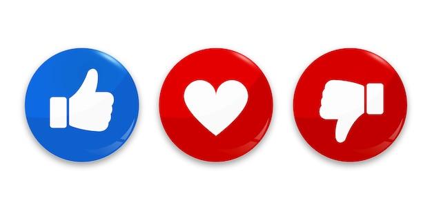 Pollice su, giù e icona del cuore.