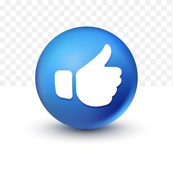 Pollice in su icona facebook 3d su sfondo trasparente