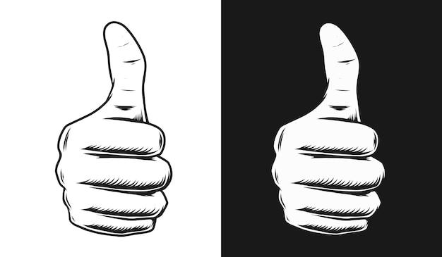 Illustrazione della mano pollice in su
