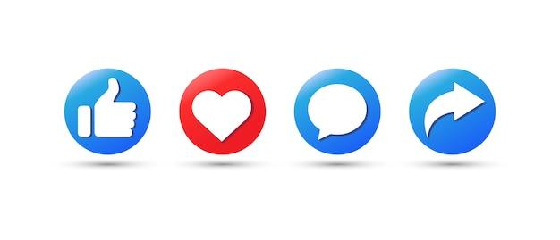 Pollice in alto e icona del cuore. mi piace, inoltra, icona ripubblicazione dei commenti.