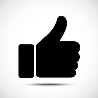 Simbolo del pollice in su per il design del tuo sito web. come icona in stile piatto alla moda. illustrazione vettoriale.