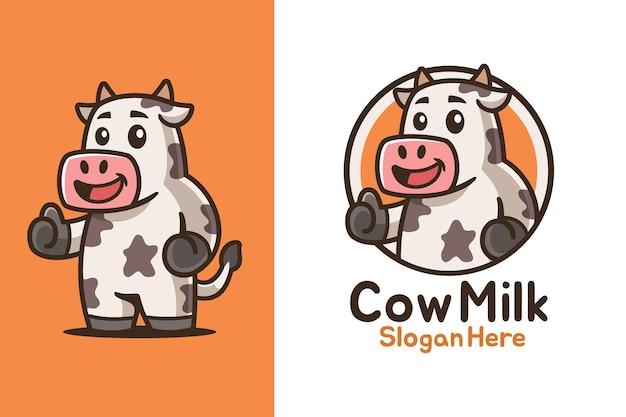 Evviva il design del logo della mascotte della mucca