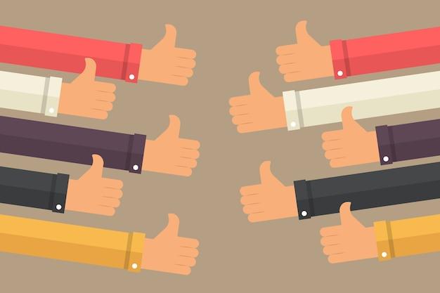 Pollice in alto le mani. concetto di complimento aziendale