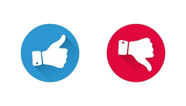Pollice su e pollice giù le mani. mi piace e non mi piace l'icona di vettore del pulsante pollice. ok e brutto segno. mi piace o non mi piace la decisione. scelta positiva e negativa. stile sociale dei pulsanti. segno di spunta design piatto